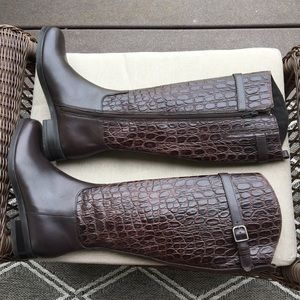 CLARKS SIZE 6.5 Hopedale Riding Boot Brown.